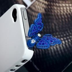 Blue Butterfly Headphone Jack Plug Charm