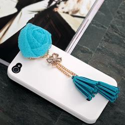 Rose Bow Tassels 3.5mm Phone Jack Plug Charm Blue