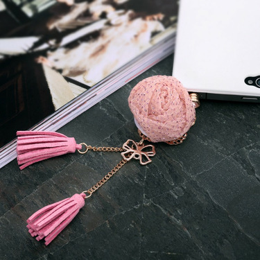 Rose Bow Tassels 3.5mm Phone Jack Plug Charm Pink