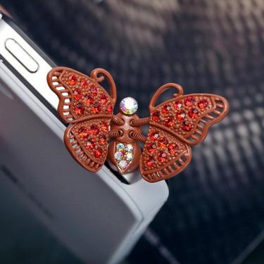 Red Butterfly 3.5mm Headphone Jack Plug Charm