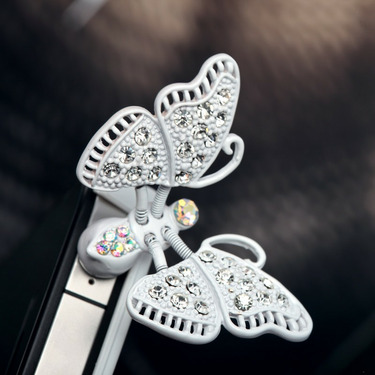 White Butterfly 3.5mm Headphone Jack Plug Charm