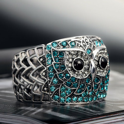 Antique Gold Rhinestone Owl Stretch Cuff Bracelet Multicolor
