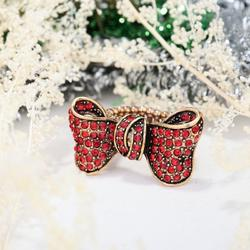 Vintage Gold Plated Red Rhinestone Bow Stretch Ring