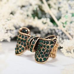 Vintage Gold Plated Emerald Rhinestone Bow Stretch Ring