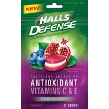 Halls Antioxidant Vitamins C Sugar Free Drops in Pomegranate Berry