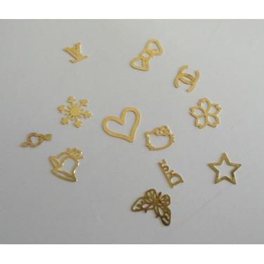 3D Golden Foil Metal Nail Art Tips Sticker Decal Slice