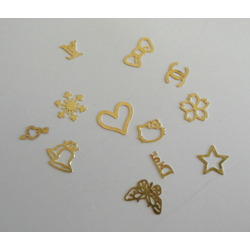 3D Golden Foil Metal Nail Art Tips Sticker Decal Slice