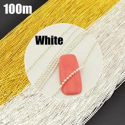 Elegant White Beads Line Chain Nail Art Decoration