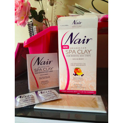 Nair Brazilian Spa Clay Easy to Use Wax Strips Legs and Body