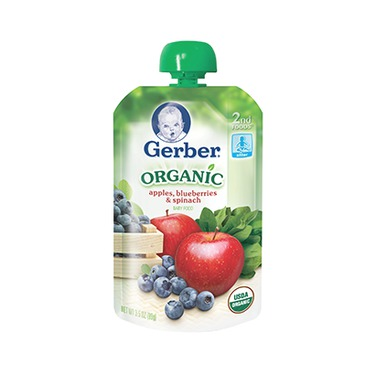 Gerber Organic Fruit & Veggies: Apples, Blueberries, and Spinach Pouch