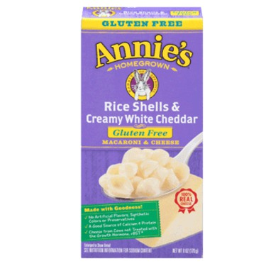 Annie's Homegrown Gluten Free Rice Shells with Creamy White Cheddar