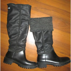 COUGAR Storm Black BOOTS Knee High Fleece Sherpa Lined
