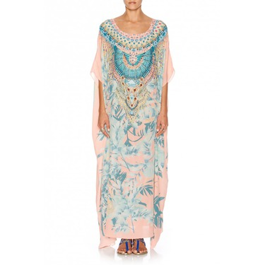 Garden of Dreams Round Neck Kaftan in Camilla Print