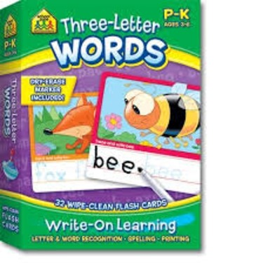 School Zone Three-Letter Words Write On Learning Flash Cards