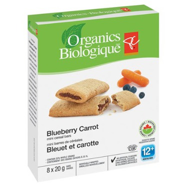 PC organics mini cereal bars- blueberry carrot