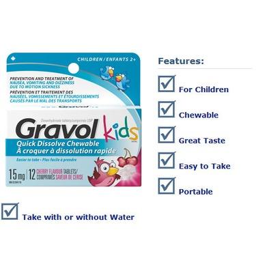 Gravol Kids Quick Dissolve Chewable Tablets in Cherry