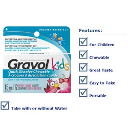 Gravol Kids Quick Dissolve Chewable Tablets in Cherry