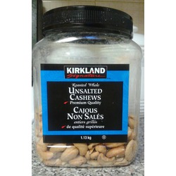 Kirkland roasted whole unsalted cashews