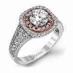 Simon G Diamond 18k Two Tone Gold Halo Engagement Ring Setting