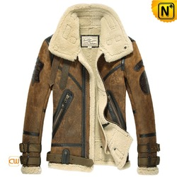 Mens Vintage Bomber Sheepskin Shearling Jacket CW877168