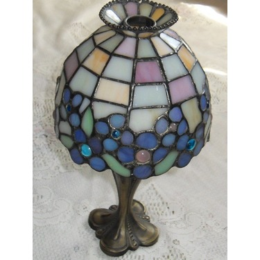 Partylite Stained Glass Antique Tealight Candleholder Lamp