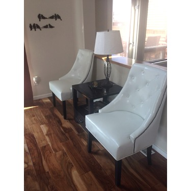 Coaster Home Lounge Chair in Bonded White Leather