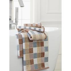 Velour Mosiac Check Jacquard Towels