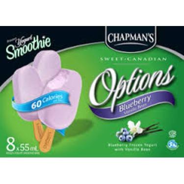 Chapman's Frozen Yogurt Smoothie Options Blueberry Vanilla Bean