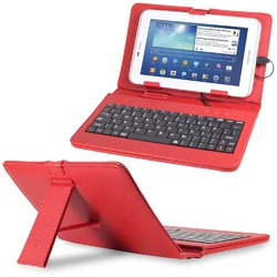 "Fosman PU Leather Stand Case for 7"" Tablets with Micro USB Keyboard"