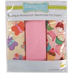 "Babyville Waterproof Diaper Fabric 21""x24"" Cuts 3/Pkg-PUL Sweet Stuff Butterflies & Cupcakes"