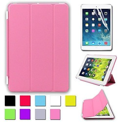 Besdata Ultra Thin Magnetic Smart Cover & Back Case For Apple iPad Mini + Screen Protector + Cleaning Cloth + Stylus - Pink - PT2504