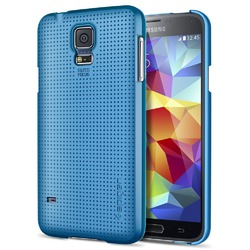 Galaxy S5 Case, Spigen [+Screen Shield] Samsung Galaxy S5 Case Slim [Ultra Fit] [Electric Blue]