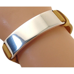 Bottega veneta designer jewelry silver id bracelet with tan leather strap...