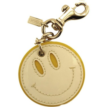 COACH Designer Charm Keychain Leather Face Hang Tag Key Hook