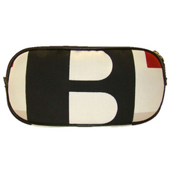 Bally Designer Accessories Bemont Multi Colored Fabric With Black Leather Trim Cosmetic Case