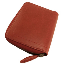 Trina Turk Designer Wallet Red Leather Crane Zip Around Credit Card And Billfold Designer Wallets