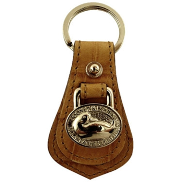 Dooney & Bourke Designer Key Ring Tan On Tan Croc Embossed Genuine Leather With Silver Tone Hardware