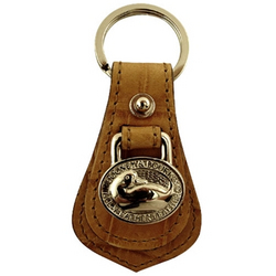 Dooney & Bourke Designer Key Ring Tan On Tan Croc Embossed Genuine Leather With Silver Tone Hardware