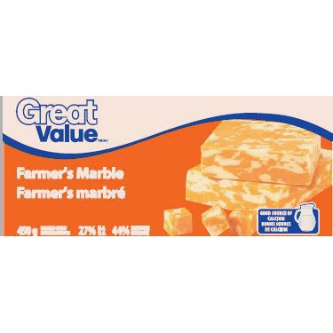 Great Value Farmer's Marble Cheddar Cheese Block