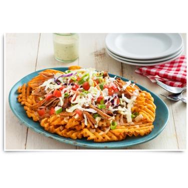 Pulled Pork Spicy Nachos with McCain Lattice Cut Fries Recipe