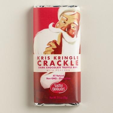 Seattle Chocolate Kris Kringle Crackle dark chocolate truffle bar with popcorn