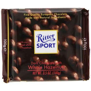 Ritter Sport, Dark Chocolate with Whole Hazelnuts, 3.5-Ounce Bars