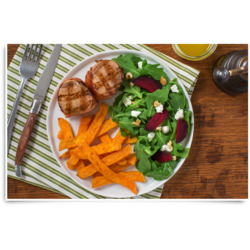 Bacon-Wrapped Pork Tenderloin Medallions with Beet & Goat Cheese Salad and McCain Sweet Potato Plank Fries Recipe