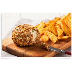 Pimento and Jalapeño Pepper Cheddar Cheese Ball with McCain Spicy Wedges Recipe