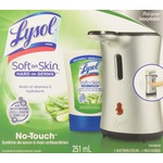 Lysol No-Touch Soft on Skin Antibacterial Hand Soap System, Stainless Look; Moisturizing Aloe & Vitamin E Refill