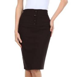 Sakkas Petite High Waist Stretch Pencil Skirt with Four Button Detail