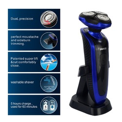 Ckeyin Rechargeable Waterproof Washable Men's Electric 3D Electric Strong Shaver Razor