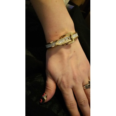 Yoshine Gold-tone Bangle Bracelet,covered in Sparkling Pave Crystals for Woman
