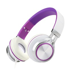 ECOOPRO® Lightweight Portable Adjustable Wired Over Ear Stereo Headphones Earphone for MP3 MP4 PC Tablets Cell Phones (Purple)