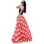 Women's Fashion Chiffon Polka Dot Print High-waist Summer Long Maxi Skirt
